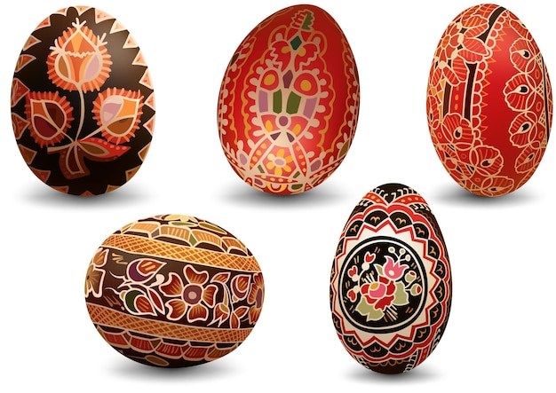 Conjunto de ovos de páscoa pintados coloridos - ovos ricamente decorados como ilustrações isoladas em fundo branco, vetor