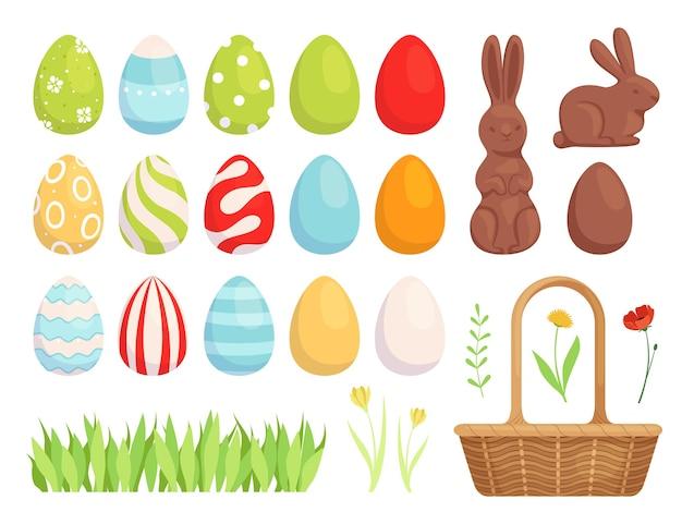 Conjunto de ovos de páscoa pintados, ovos lindamente decorados para o feriado. design plano. isolado em um fundo branco