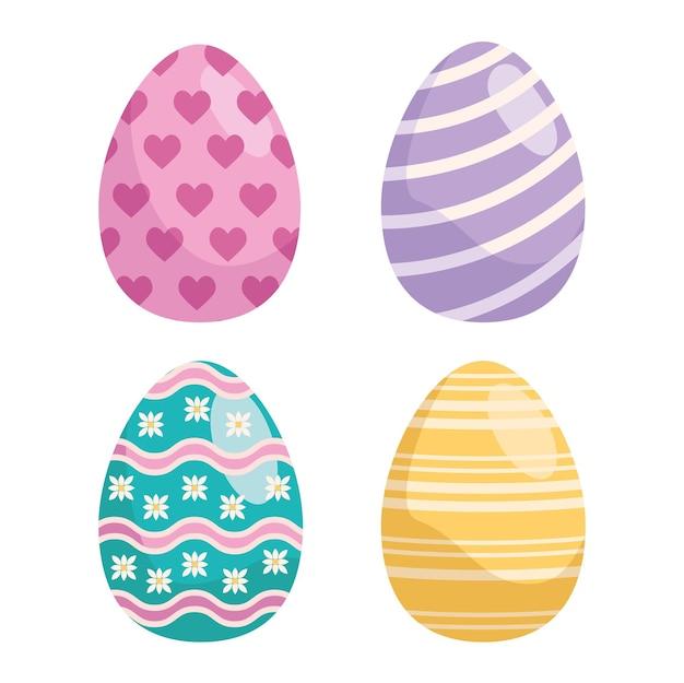Conjunto de ovos de páscoa pintados