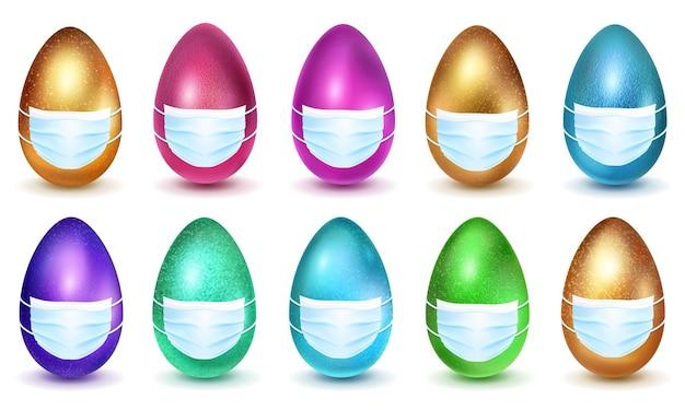 Conjunto de ovos de páscoa realistas em várias cores em máscaras médicas