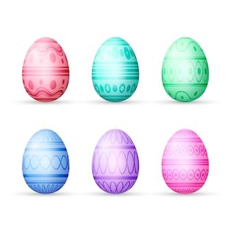 Conjunto de ovos diferentes para o dia de páscoa