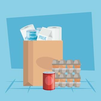 Conjunto de ovos em papelão pacote com comida em lata e saco de papel