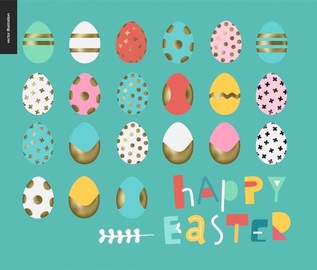 Conjunto de ovos pintados