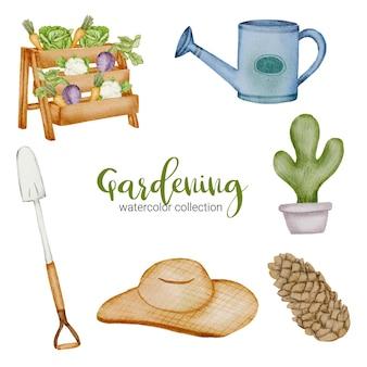 Conjunto de pá, cacto, semente, chapéu e regador de objetos de jardinagem em estilo aquarela sobre o tema jardim.