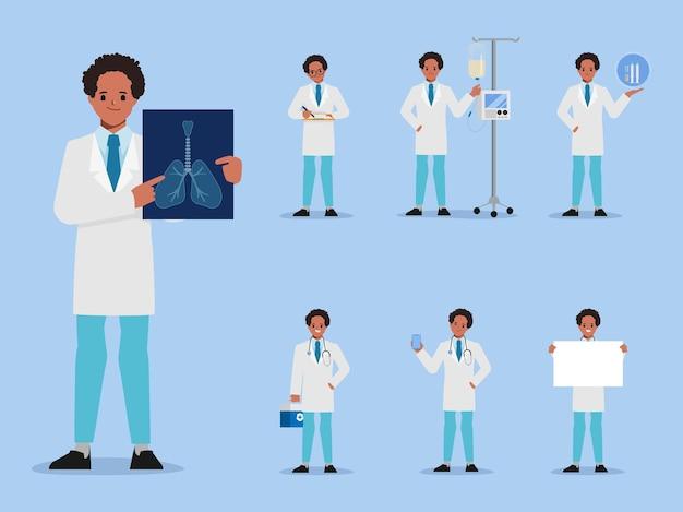 Conjunto de paciente covid19 tratamento de trabalhadores de hospital e conceito de vacina