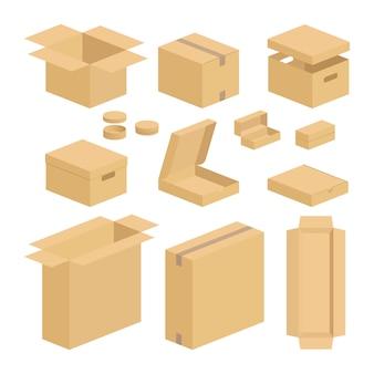 Conjunto de pacote da caixa da caixa