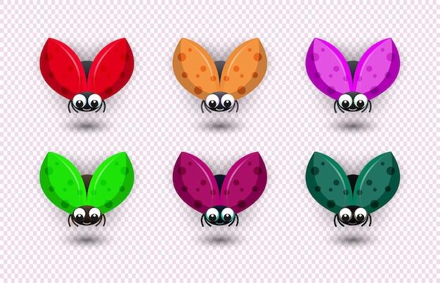 Conjunto de pacote de 6 besouros de várias cores em um fundo transparente