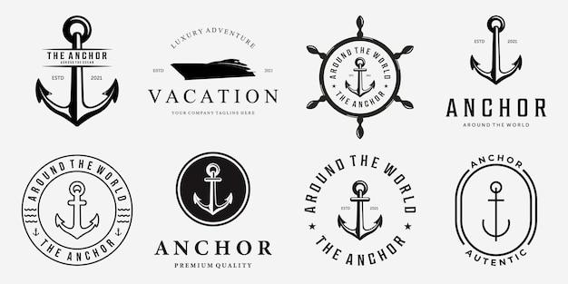 Conjunto de pacote de âncora, navio, iate, luxo, emblema, vetorial, logotipo, ilustração, design vintage, de, água