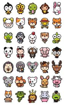 Conjunto de pacote de desenho animado de animal fofo