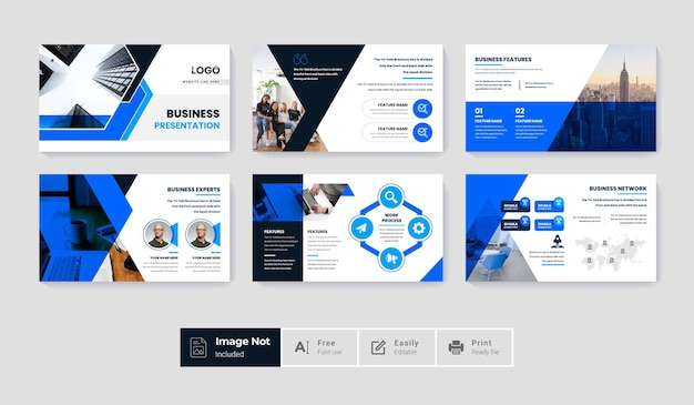 Conjunto de pacote de design de modelo de slide criativo moderno e criativo tema infográfico colorido