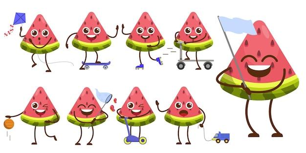 Conjunto de pacote de frutas no personagem de mascote dos desenhos animados, esportista bonito na atividade e equipamentos diferentes, ilustração de design plana