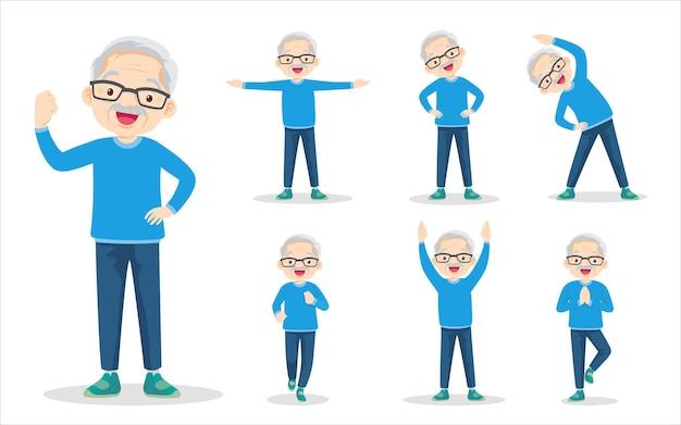 Conjunto de pacote de homem idoso exercitando várias ações