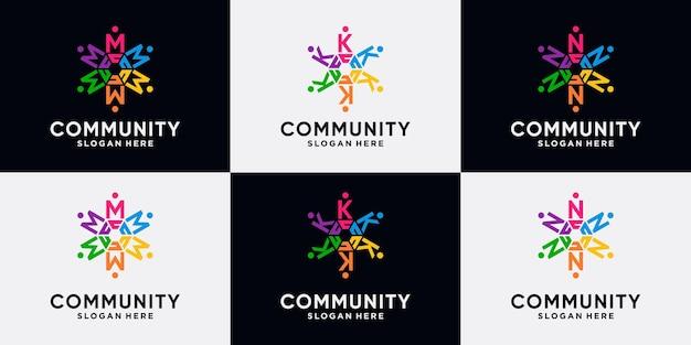 Conjunto de pacote de letra inicial de design de logotipo de comunidade m, k, n com conceito criativo.