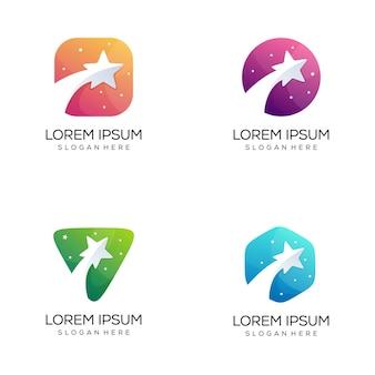 Conjunto de pacote de logotipo de estrela abstrato