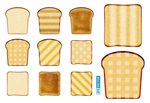 Conjunto de pacote de pão fatiado ou pão torrado embalado com clipe ou pão de confeitaria de trigo fatiado realista
