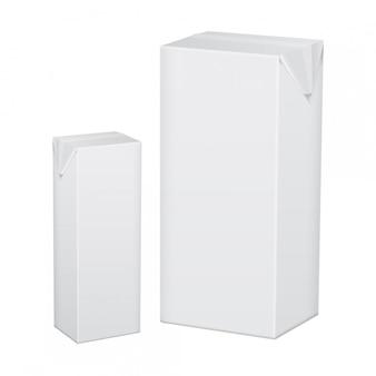 Conjunto de pacote de papelão branco em branco para bebidas, suco, leite ou iogurte