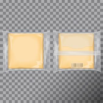 Conjunto de pacote de queijo quadrado.