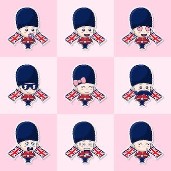 Conjunto de pacote de soldado britânico fofo, bebê da guarda da rainha com expressão diferente