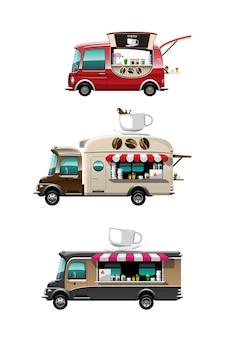 Conjunto de pacote de vista lateral do food truck com balcão de café, xícara de café e modelo em cima do carro, em fundo branco, ilustração