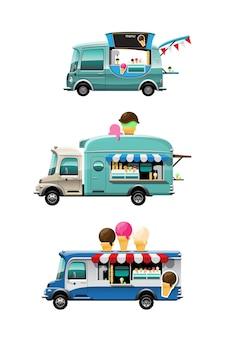 Conjunto de pacote de vista lateral do food truck com balcão de sorvete, casquinha de sorvete e modelo em cima do carro, em fundo branco, ilustração