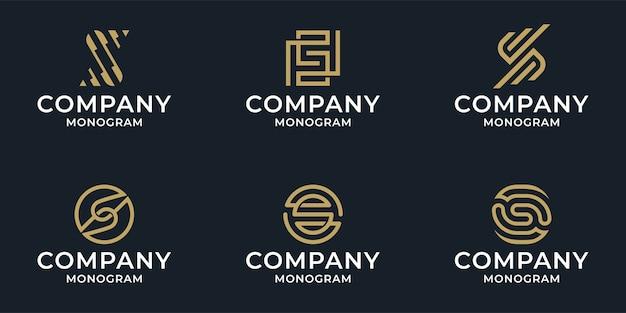 Conjunto de pacote do logotipo da letra s do resumo da coleção