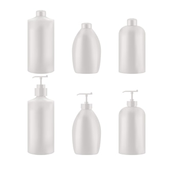 Conjunto de pacote vazio realista para produto cosmético de luxo. coleção de modelo em branco de recipientes de plástico. frasco de líquido, creme para cuidados com a pele. maquete isolada no fundo branco.