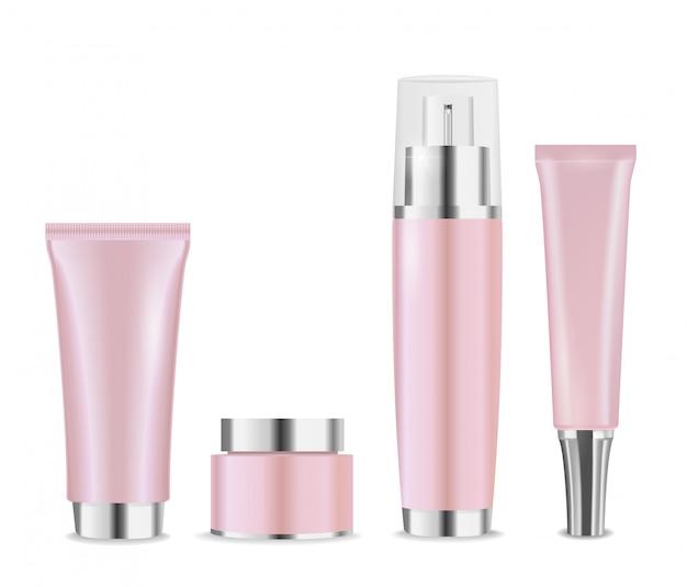 Conjunto de pacotes de cosméticos rosa com tampas de prata para creme, loção ou hidratante.