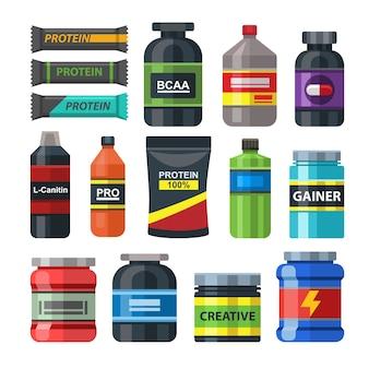 Conjunto de pacotes de nutrição de ginásio de comida esportiva