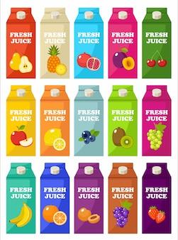Conjunto de pacotes de suco de frutas