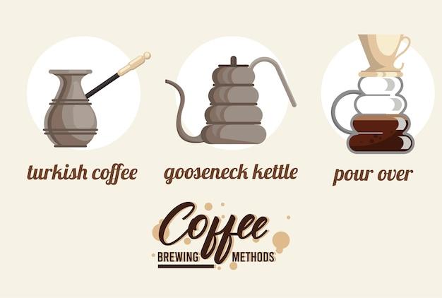 Conjunto de pacotes de três métodos de preparação de café