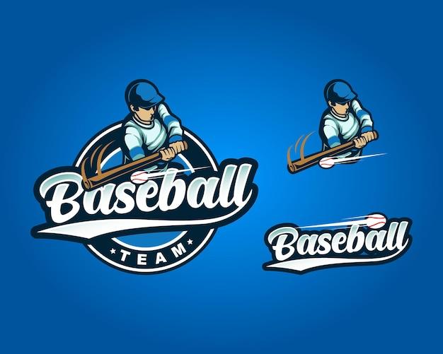Conjunto de pacotes logotipo azul do homem de beisebol