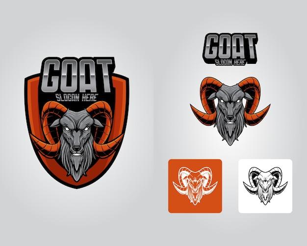 Conjunto de pacotes, mascote, logotipo, cabra, cabeça