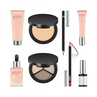 Conjunto de pacotes realistas para cosméticos decorativos. modelo de recipientes para sombra para os olhos, pó, esmalte, corretivo, creme