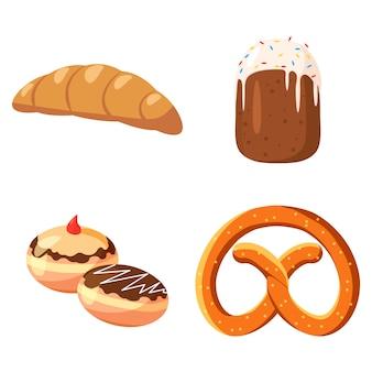 Conjunto de padaria. conjunto de desenhos animados de padaria