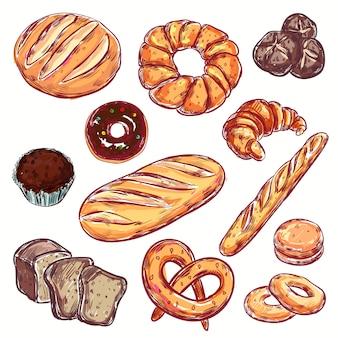 Conjunto de padaria de pão de linha