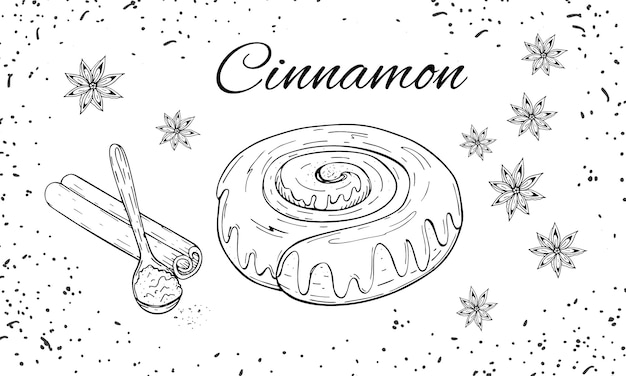 Conjunto de padaria desenhada mão com pão de canela