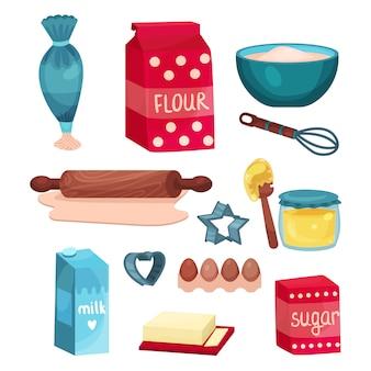Conjunto de padaria, equipamentos e ingredientes alimentares para assar e cozinhar ilustrações