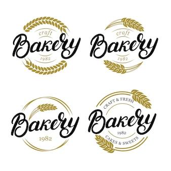 Conjunto de padaria mão escrita letras logotipo, etiqueta, emblema, emblema.