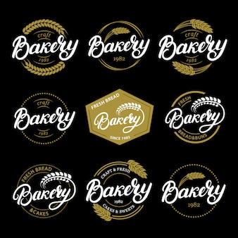 Conjunto de padaria mão escrita letras logotipo