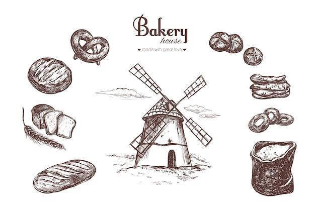 Conjunto de padaria. moinho de vento, saco de farinha, espigas e diversos tipos de pão, pão, pastelaria.