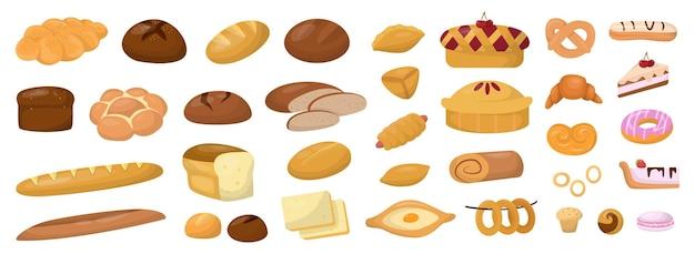 Conjunto de padaria. padaria fresca no café da manhã. alimentação saudável e natural
