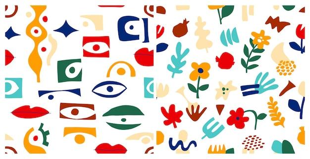Conjunto de padrão abstrato de olho, formas geométricas em estilo contemporâneo. padrão sem emenda grego de vetor com olhar, olhos em estilo moderno de colagem. fundo de formas abstratas. coleção colorida desenhada à mão
