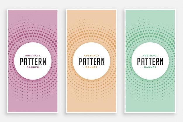 Conjunto de padrão abstrato meio-tom circular
