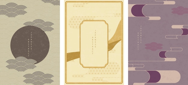 Conjunto de padrão abstrato oriental japonês com moldura retrô