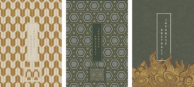 Conjunto de padrão abstrato oriental japonês