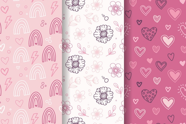 Conjunto de padrão adorável desenhado à mão para o dia dos namorados