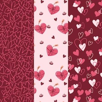 Conjunto de padrão adorável dia dos namorados