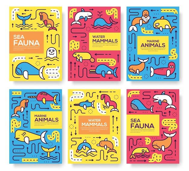 Conjunto de padrão animal de mamíferos marinhos de linha fina