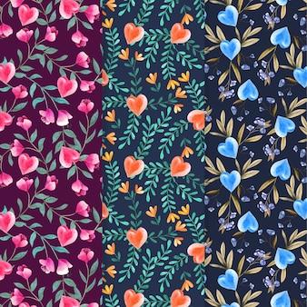 Conjunto de padrão aquarela de dia dos namorados