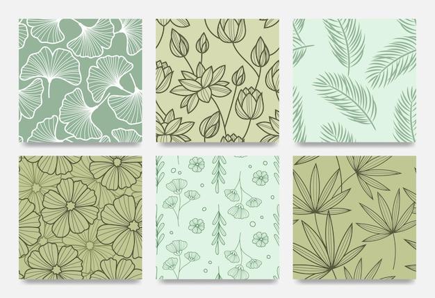 Conjunto de padrão botânico de arte de linha desenhada à mão